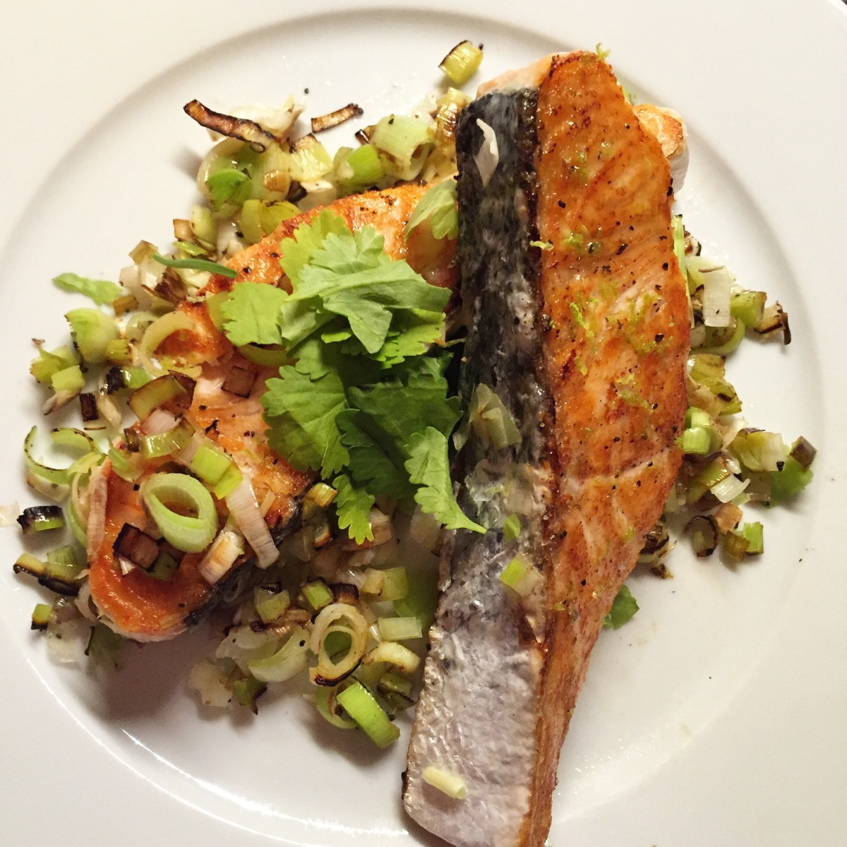 Lomos de salmón con lima ycilantro